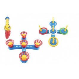 Házecí hra plast kříž s kruhy + košíčky s míčky v síťce