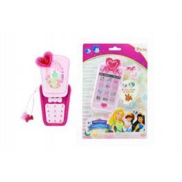 Teddies Telefon Mobil s princeznami plast 14cm na baterie se světlem se zvukem na kartě