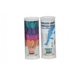 Míčky / Košíčky na badminton péřové barevné v tubě 6x18x6cm