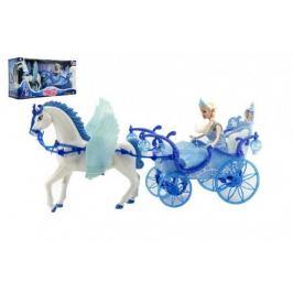 Teddies Panenka s koňem a kočárem plast na baterie se světlem 56x30x19cm