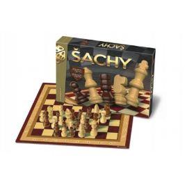 Šachy dřevěné společenská hra v krabici 33x23x3cm