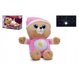 Medvídek Usínáček růžový plyš  32cm na baterie se světlem a zvukem v