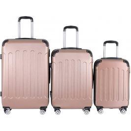 Vojagor 74207 Sada cestovních kufrů 3-dílná, tvrdý plast, rosa gold