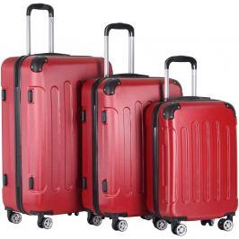 Vojagor 74206 3dílná sada cestovních kufrů, tvrdý plast - skořepina, červená