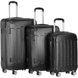Vojagor 74205 Sada cestovních kufrů 3-dílná, tvrdý plast, černá