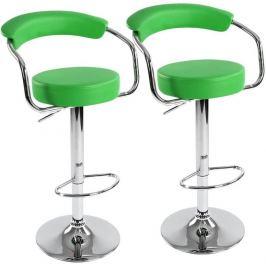 Miadomodo 74095 Sada barových židlí 2 ks, zelená, 53 x 105 x 52 cm