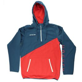Mikina CCM Tech Fleece Hoody 1/4 Zip Ensign Blue/High Risk Red SR