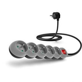 CONNECT IT prodlužovací 230V, 5 zásuvek + vypínač, 2m, šedý