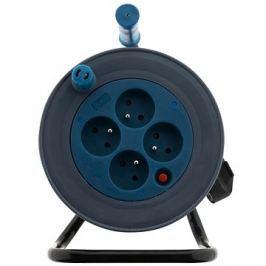 HBF prodlužovací kabel na bubnu- 4 zásuvky 15m černá/modrá