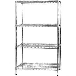 MANUTAN, základní, 160 x 90,7 x 61 cm, 4 police, stříbrný