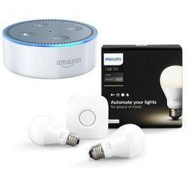 Philips Hue White 8.5W E27 starter kit + Amazon Echo Dot bílý (2.generace)